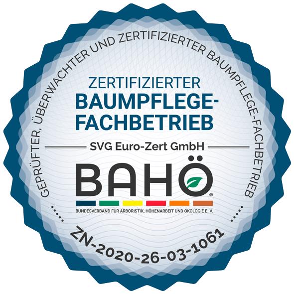 Zertifizierter Baumpflegebetrieb durch SVG Euro-Zert GmbH
